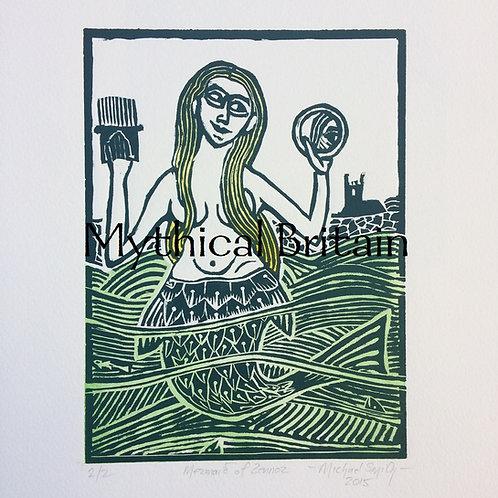The Mermaid of Zennor - Original Linocut Print