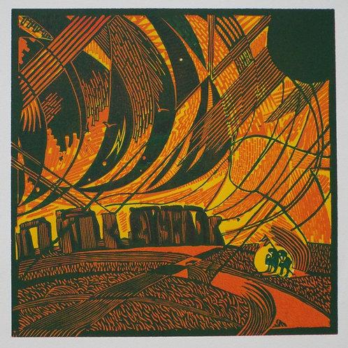 Stonehenge Storm - Original Linocut Print