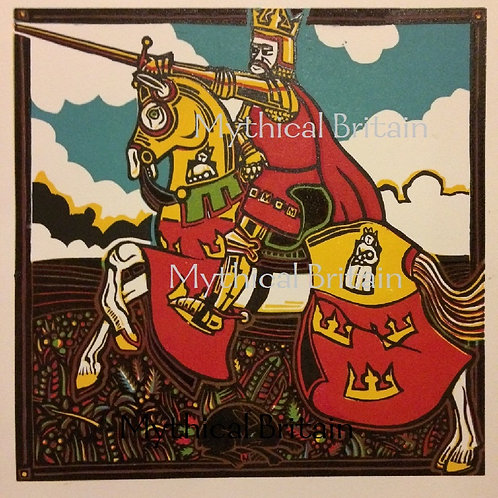 King Arthur and Excalibur - Original Linocut Print