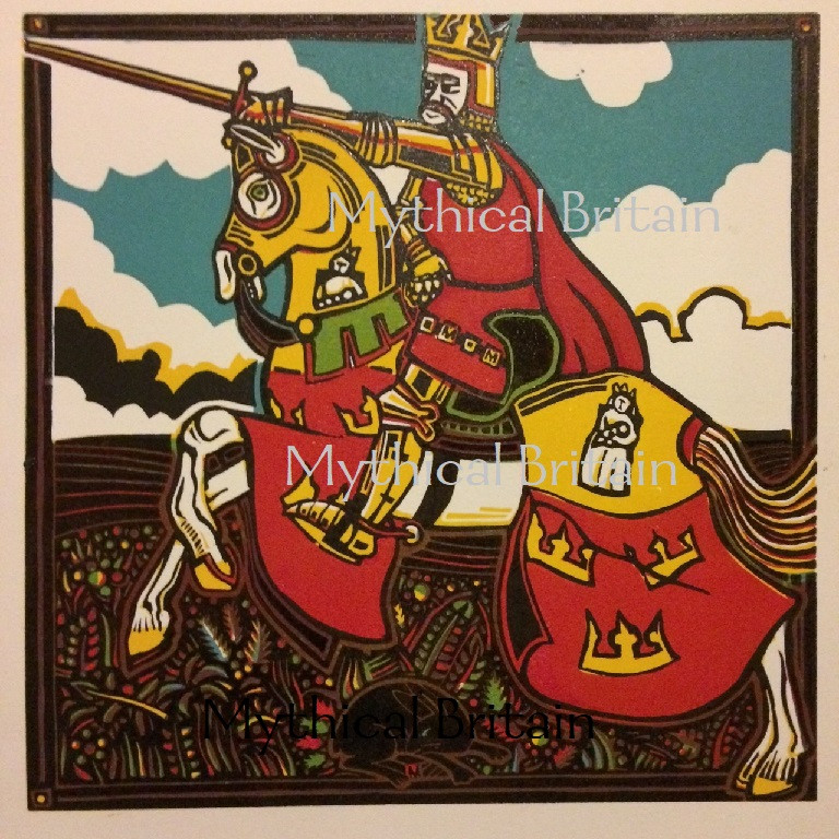 The finished linocut print of King Arthur and Excalibur by Michael Smith