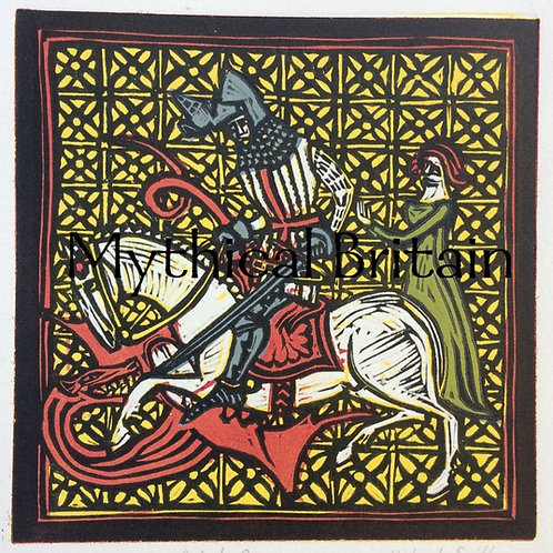 Piers Shonks the Dragon Slayer - Original Linocut Print