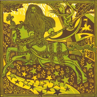 Sir Gawain and the Green Knight - recreating in linocut the characters of Cotton Nero A.x