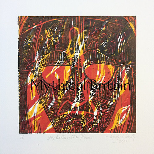 Raedwald in Flames (Blue) - Original Linocut Print