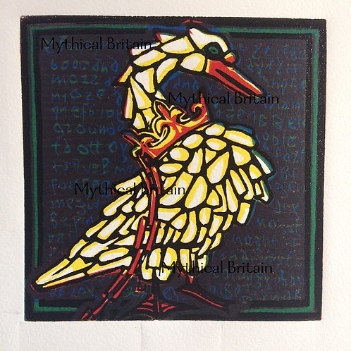 The Dunstable Swan Jewel - Original Linocut Print
