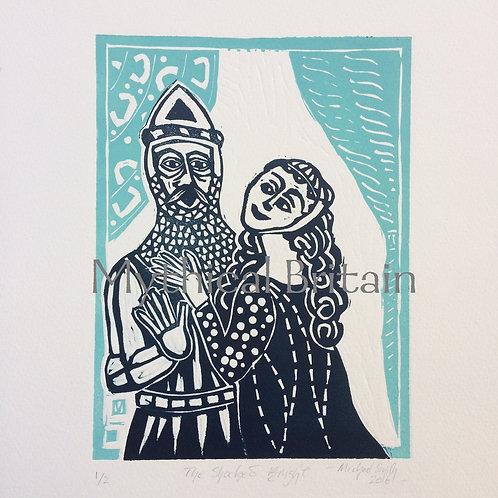 The Shocked Knight - Original Linocut Print