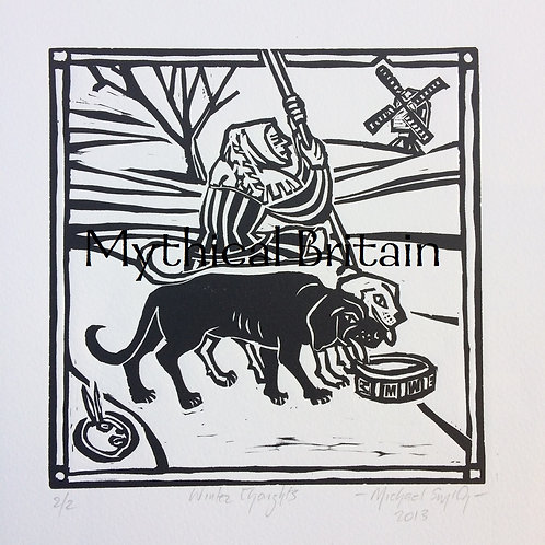 Winter Thoughts - Original Linocut Print