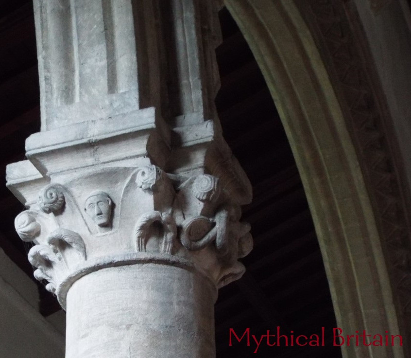 Detail of a capital in the nave at Barna