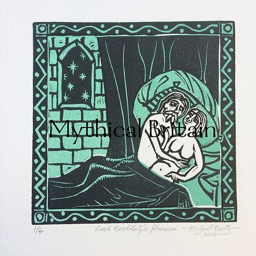 Lord Bertilak's Pleasure - Original Linocut Print