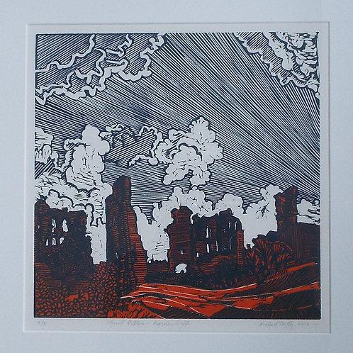 Sheriff Hutton Castle - Original Linocut Print