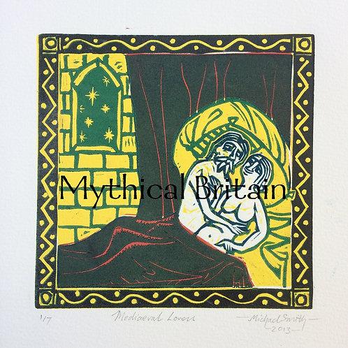 Mediaeval Lovers - Original Linocut Print