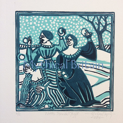 The Snowballers (Blue) - Original Linocut Print