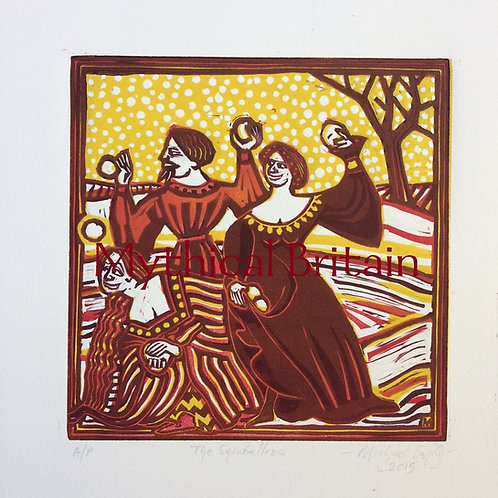 The Snowballers (Red) - Original Linocut Print