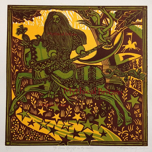 The Green Knight in the Woods - Original Linocut Print