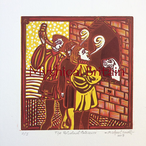 The Reluctant Audience (colour) - Original Linocut Print