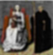 Vierge à l'Enfant en majesté avec saint Benoît.  Cliché Musées du Mans.  Conservation : Le Mans, musée de Tessé.