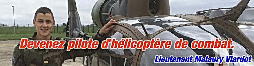 """Lieutenant Malaury Viargot et le livre """"devenez pilote d'hélicoptère de combat."""
