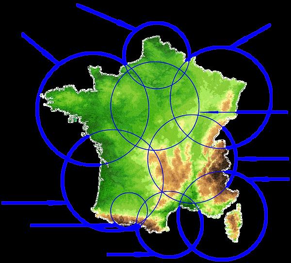 Carte de France des zones des groupements de l'UNAALAT.