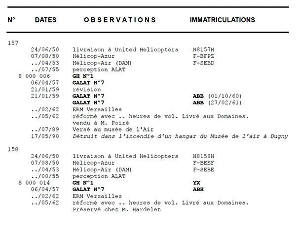 Affectations des Hiller n° 157 et 158