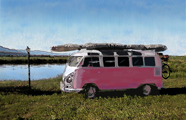 drybrush painting, VW bus