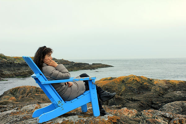 seascape, chair, girl