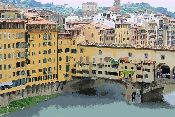 watercolor, Italy, Florence, bridge