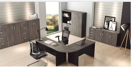 Mesa em L, Mesas de Home Officer, Mesas c/ Pé em Madeira, Móveis de Escritório, Móveis p/ Escritórios, Cadeiras, Móveis, Mesas, Armários, Escritórios