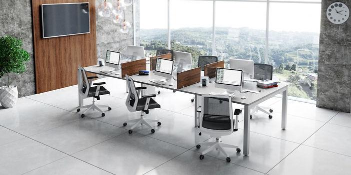 Estação de Trabalho, Mesas para Escritórios, Mesas Plataforma, Linhas Operacionais, Plataformas de Trabalho Pé em aço, Móveis Avantti, Mobiliários Corporativos, Mobiliários p/ escritórios