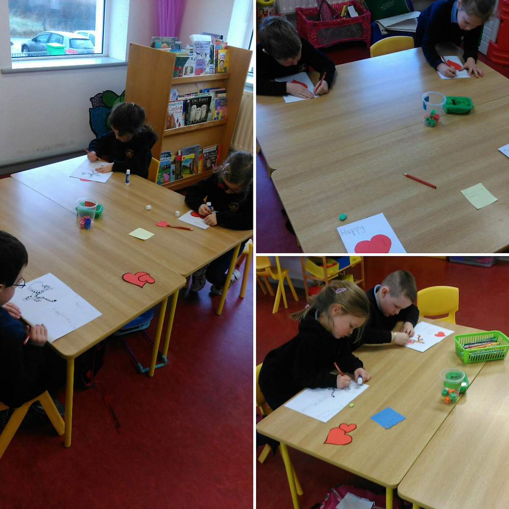 A lot of love went into making our Valentines Cards today.
