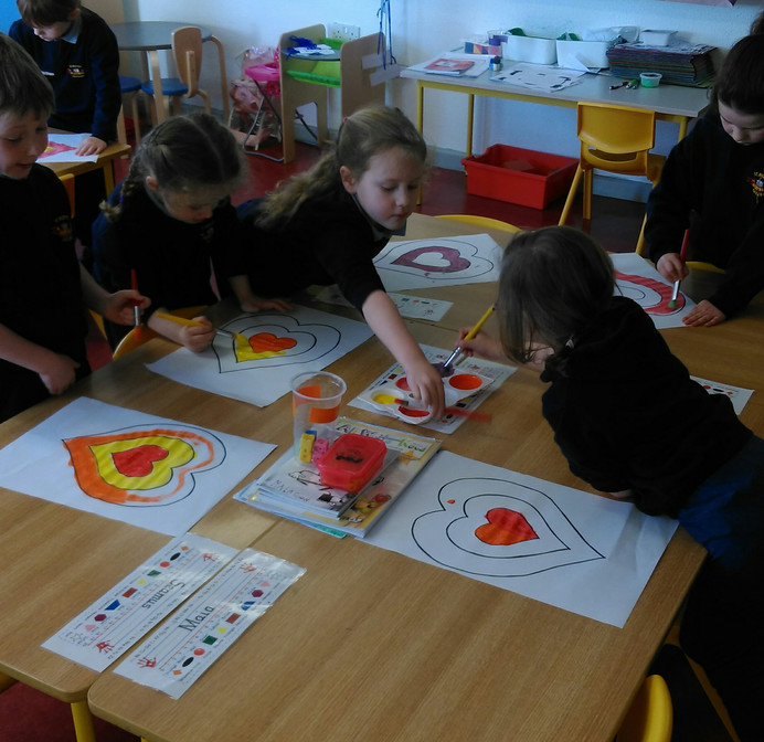 Kadinsky inspired Valentines Art by Infants