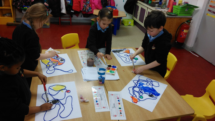 Abstract Art Using Wool & Paint