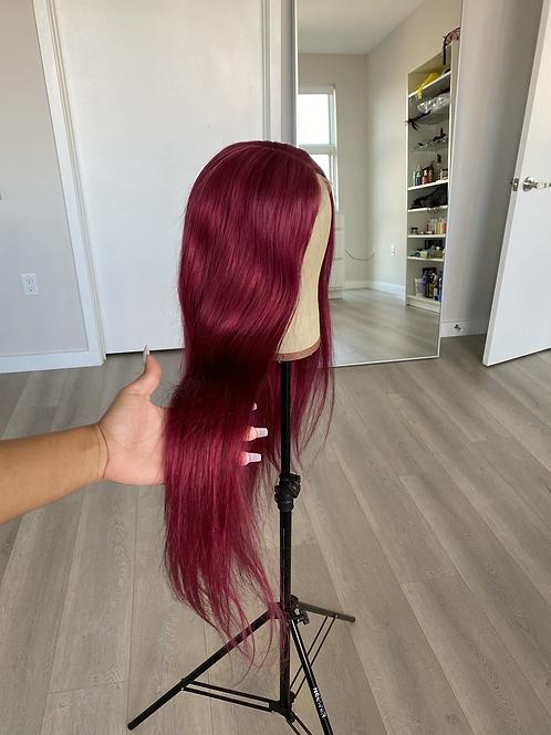Burgundy 26 inch lace closure wig