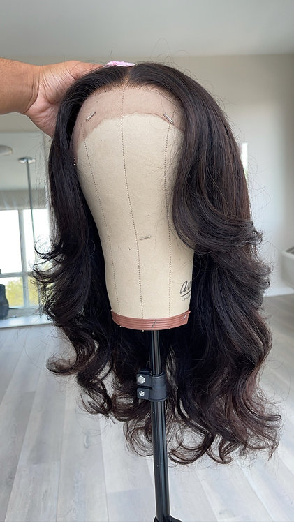 24 inch natural dark brown lace frontal wig
