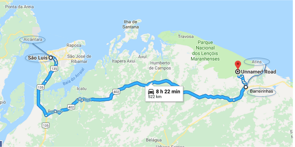 The map of all our trips around Sao Luis (including Alcantara that I will talk about later)