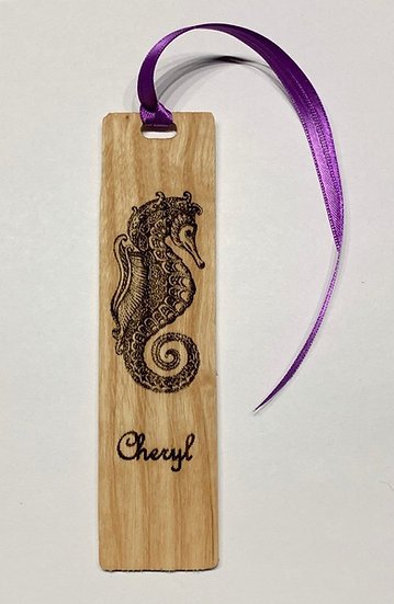 Seahorse Bookmark Laser Engraved Personalized Seahorse Wooden Bookmark