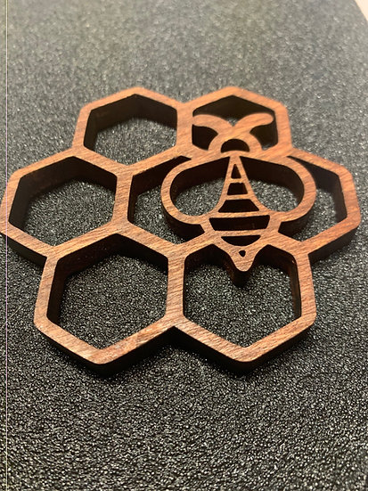 Honeybee on Honeycomb Coaster Bee Coaster