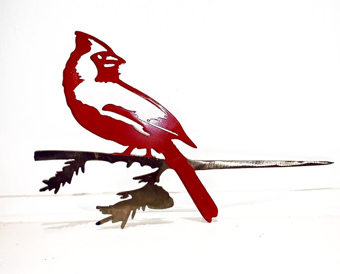 Metal Bird Cardinal on Branch Ornament