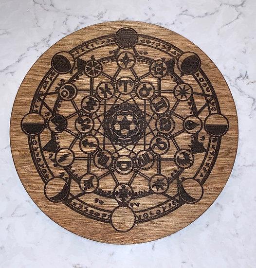 Crystal Grid Laser Engraved Wooden Astrology Chart