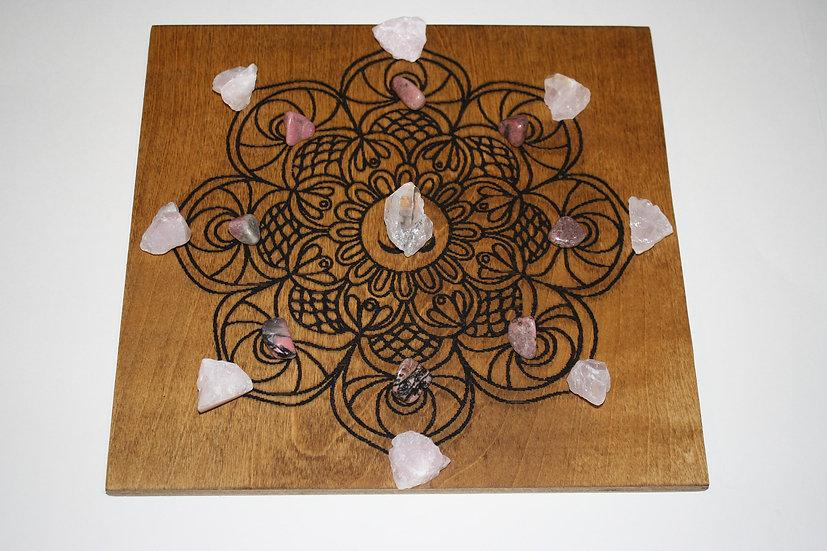 Crystal Grid Om Mandala Laser Engraved