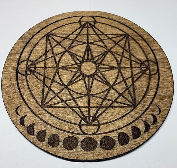 Crystal Grid Metatron's Cube Laser Engraved
