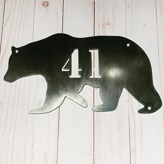Custom Steel Bear Address Sign