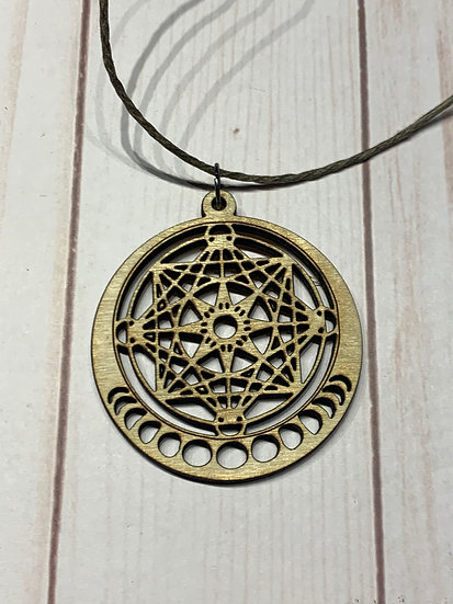 Metatron's Cube Pendant with Moon Phases