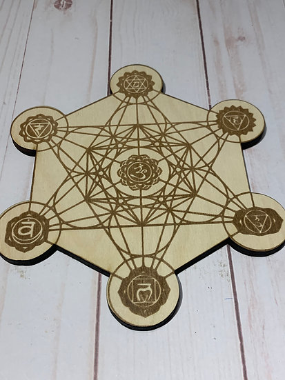 Metatrons Cube Crystal Grid with 7 Chakra's