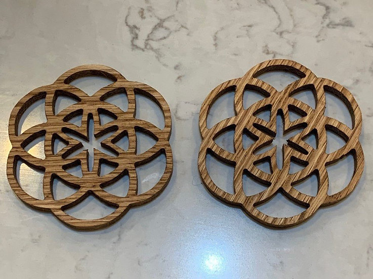 Coasters Seed of Life Carved Wooden Seed of Life Coasters (set of 4)
