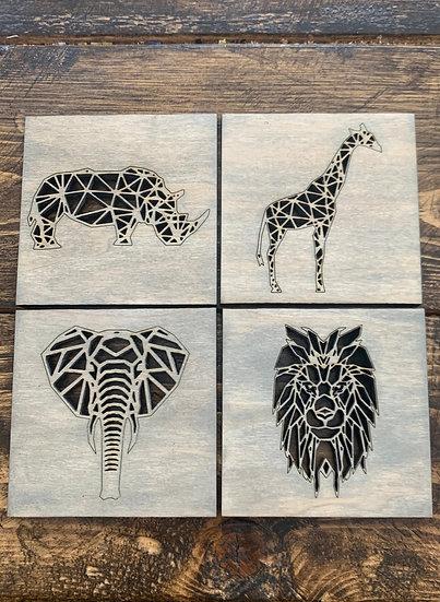 African Animal Coasters Elephant Giraffe Lion Rhino