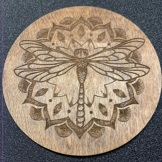 Laser Engraved Dragonfly Crystal Grid