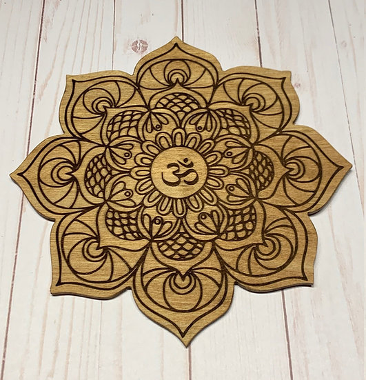 "Crystal Grid Laser Engraved  Cut Out ""Om"" Mandala"