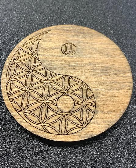 Yin Yang Flower of Life Coaster