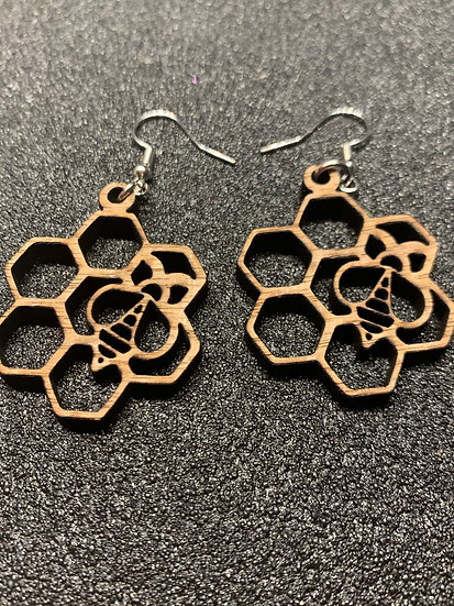 Honey bee Honeycomb Earrings