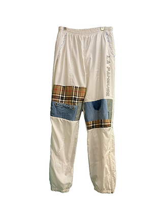trackpant blanc & patchwork jeans