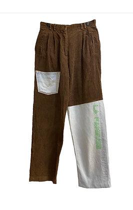pantalon velours et jean asymétrique